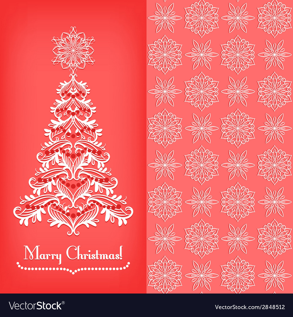Greeting card with Christmass tree red
