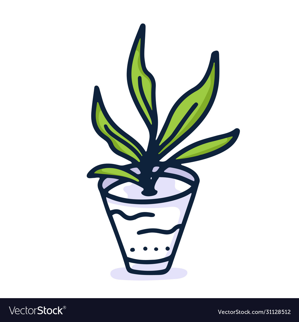 Home plant hand draw icon in cartoon style on vector