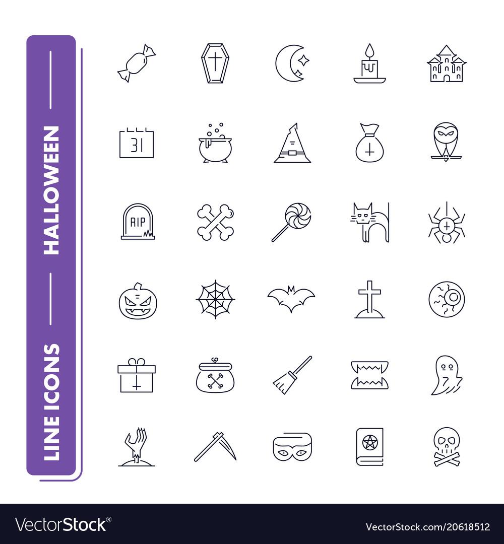 Line icons set halloween