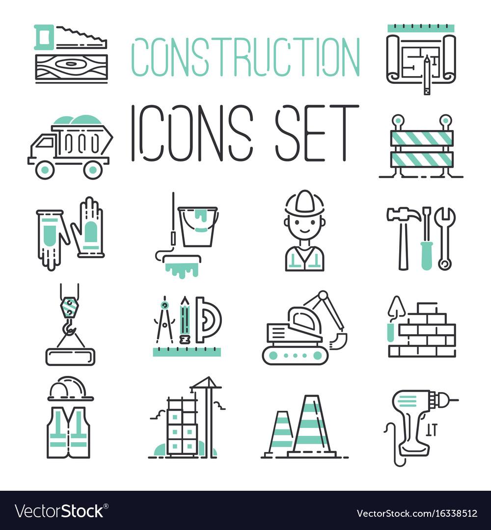 Linear under construction icons set universal web
