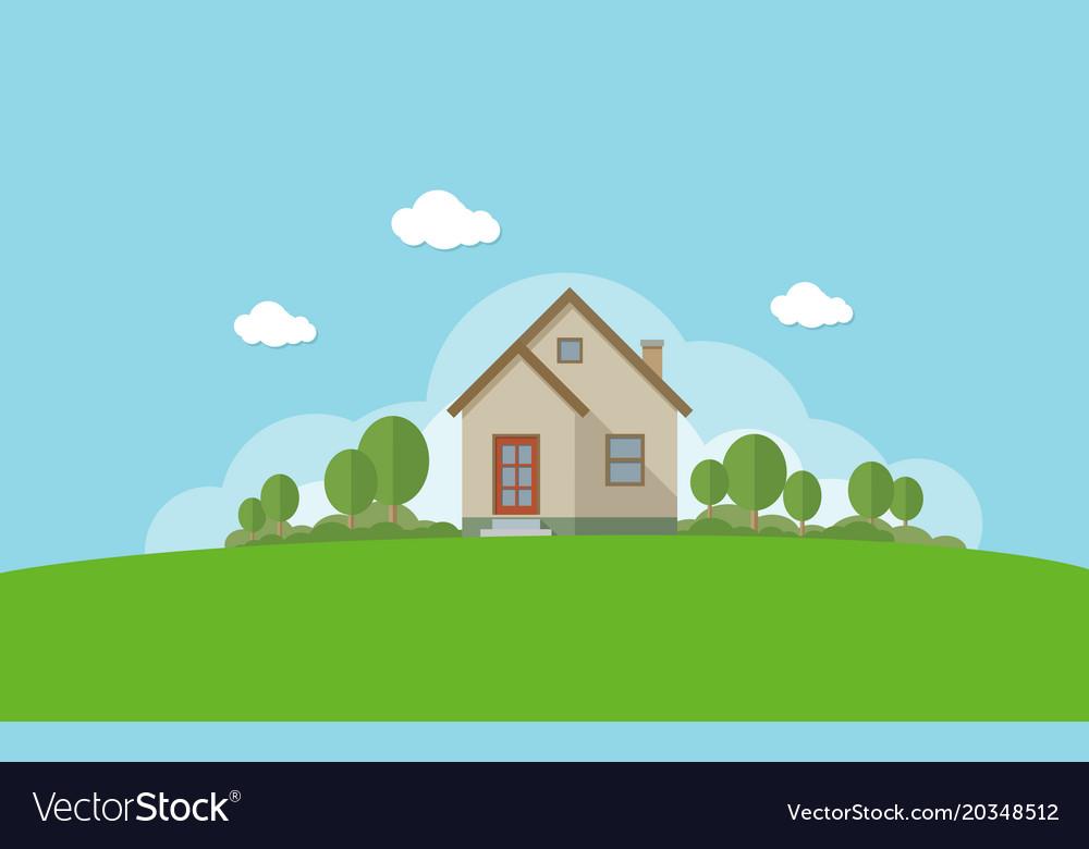 Modern House With Garden Flat Design Concept