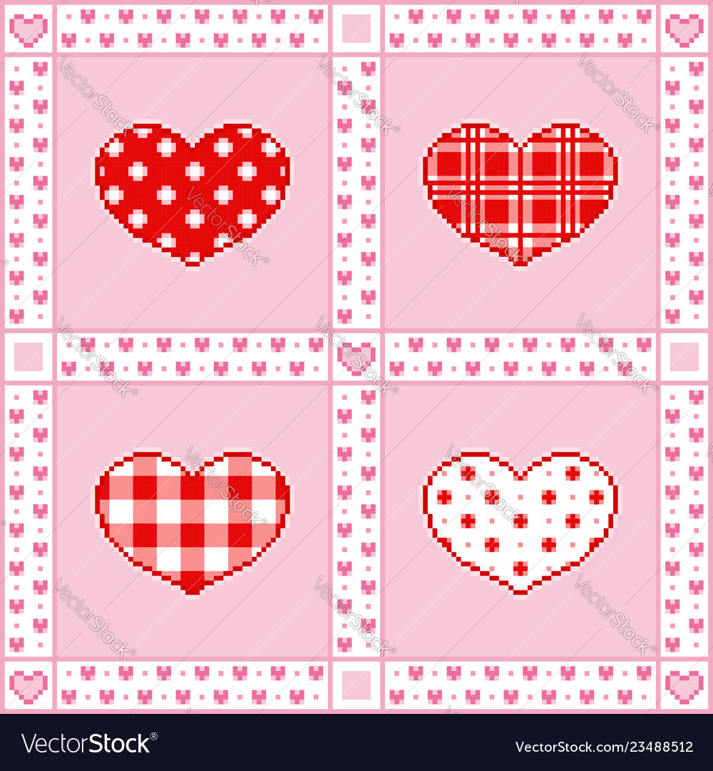 Patchwork background with hearts pixel-art style