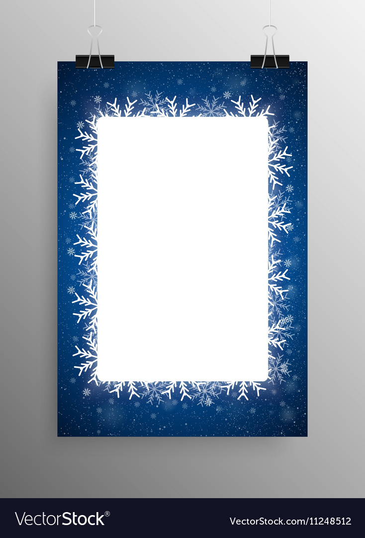 Poster Frame Falling Snow Blue Background