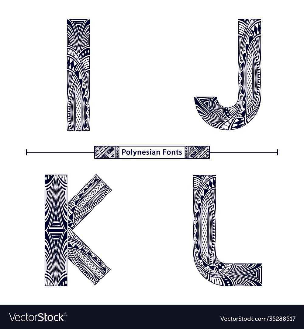 Alphabet polynesian style in a set ijkl