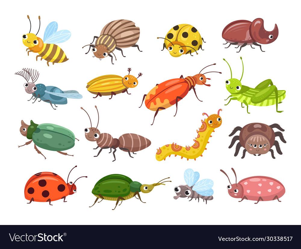 Cartoon beetle funny smiling bugs children