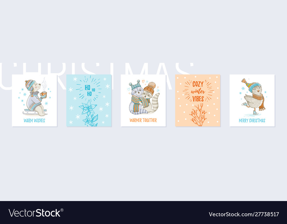 Christmas animals greeting card set cute poster