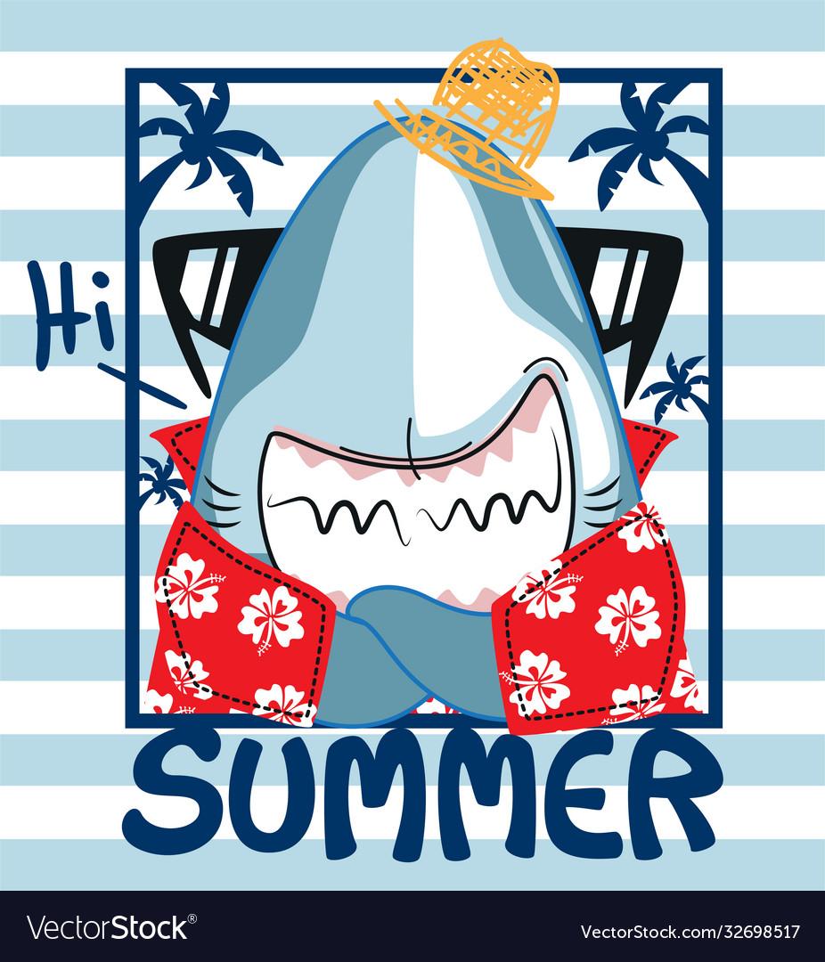 Funny shark in summer