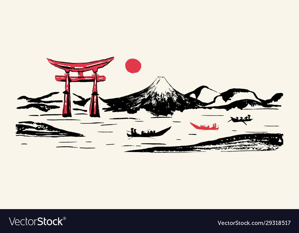 Japan panorama mountain fuji red gate hand drawn