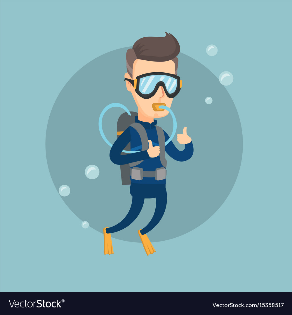 Man diving with scuba and showing ok sign