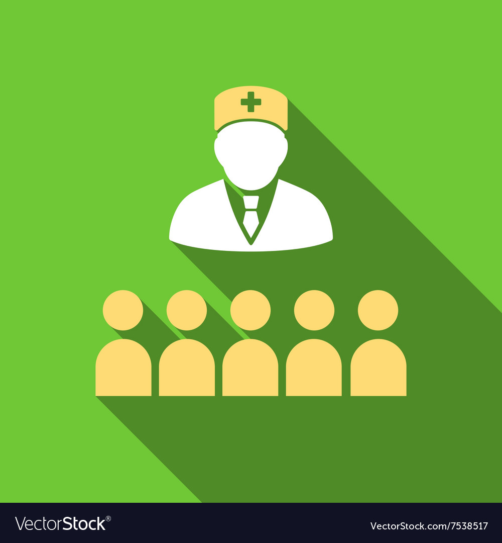 Medical Class Flat Long Shadow Square Icon vector image