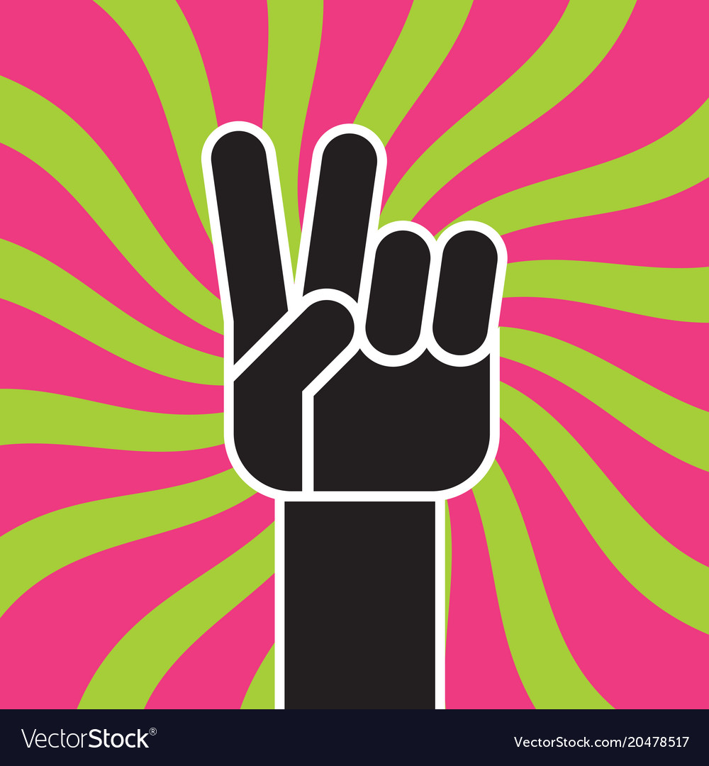 Peace sign hand gesture flat drawing
