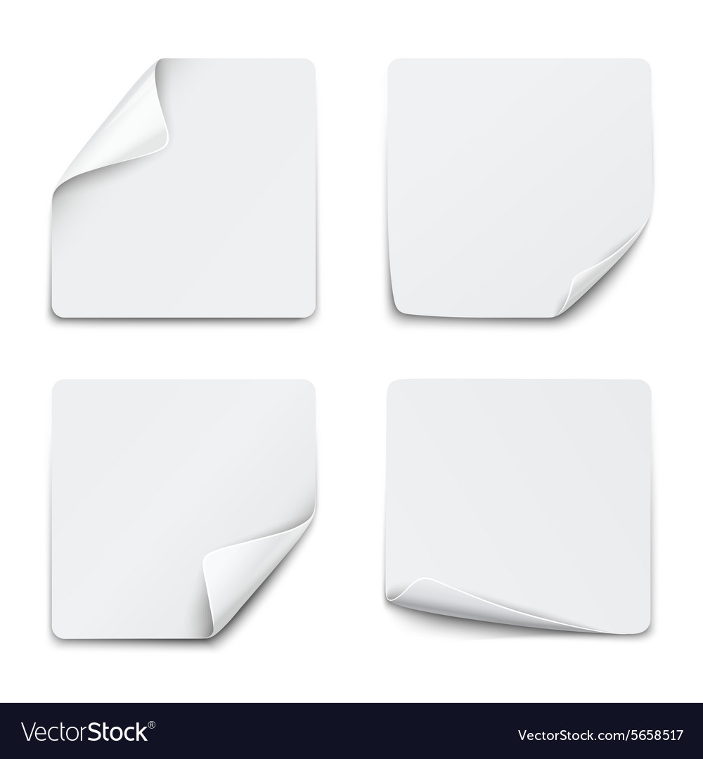 Set of white square paper stickers on white