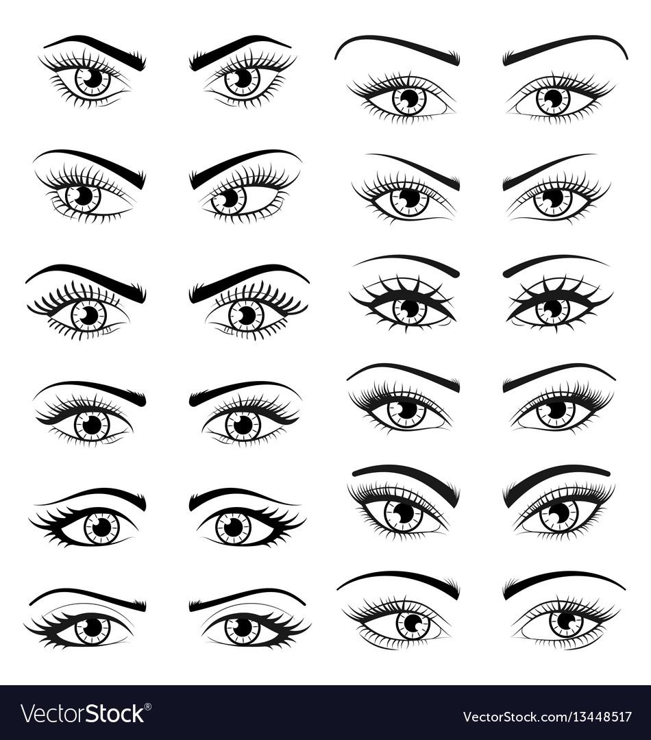 Set open beautiful female eyes isolated on white