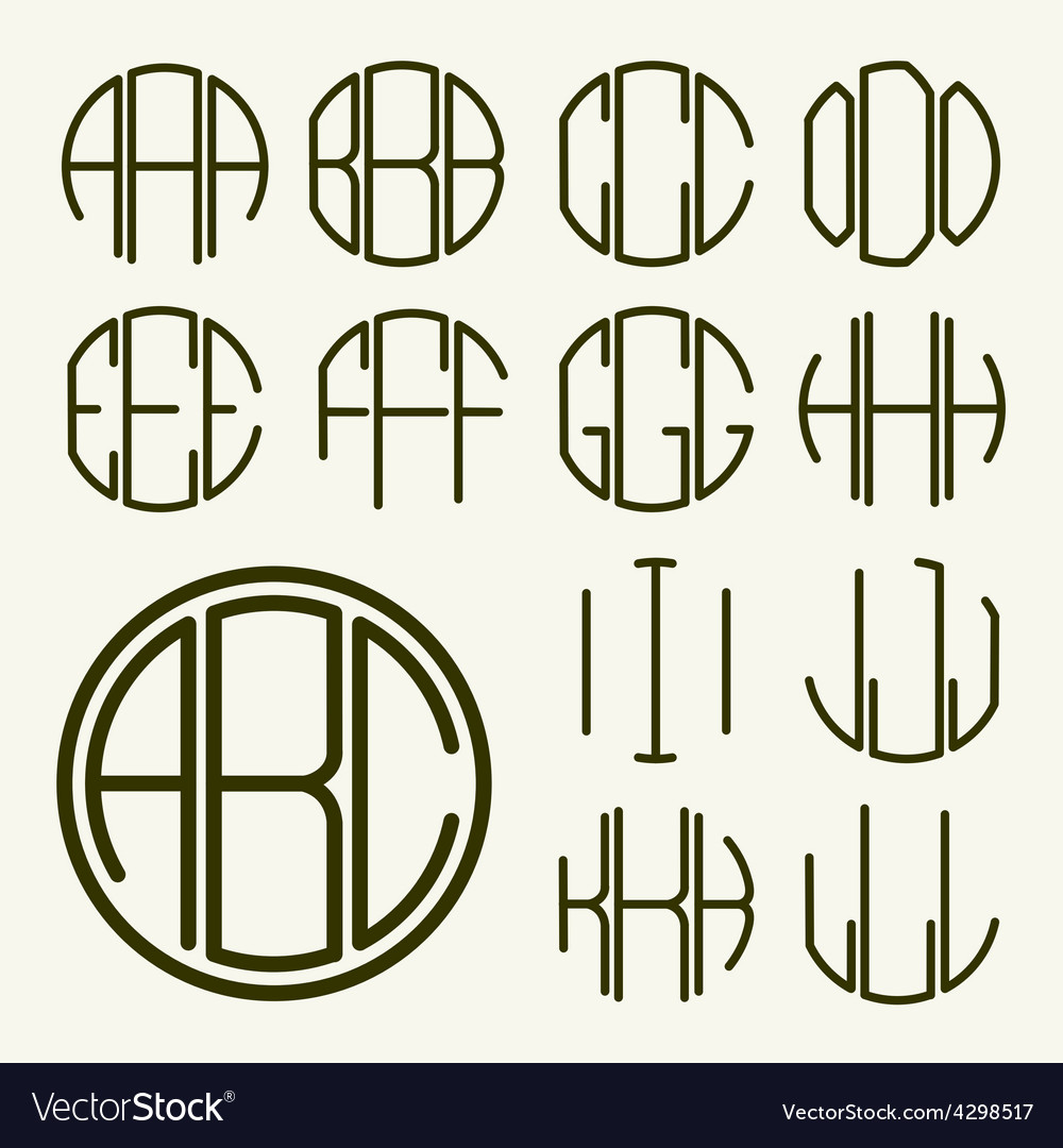 Template letters to create monogram vector image