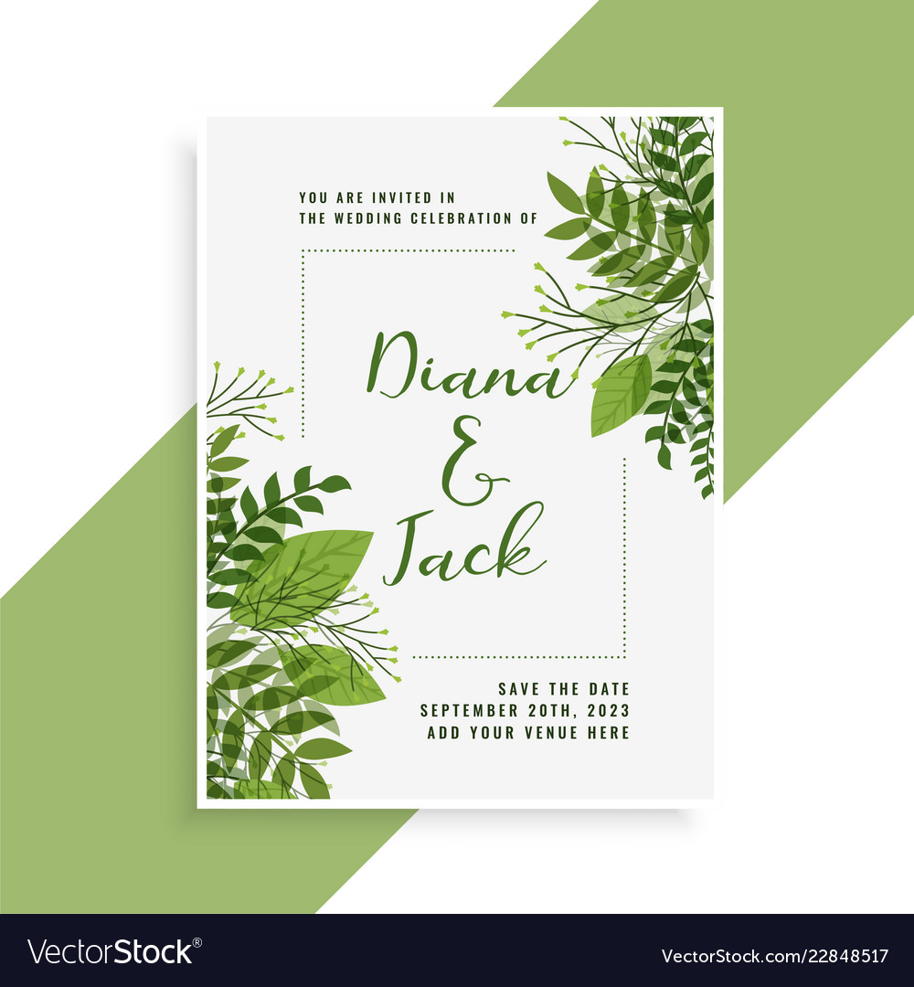 Wedding Invitation Card Design In Floral Green Vector Image