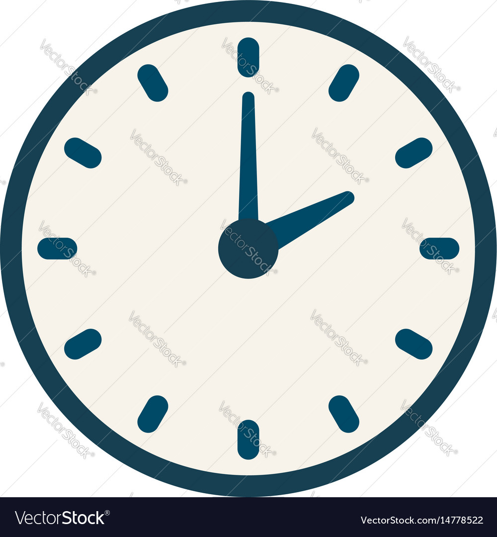 Blue clock icon flat linear time sign vector image