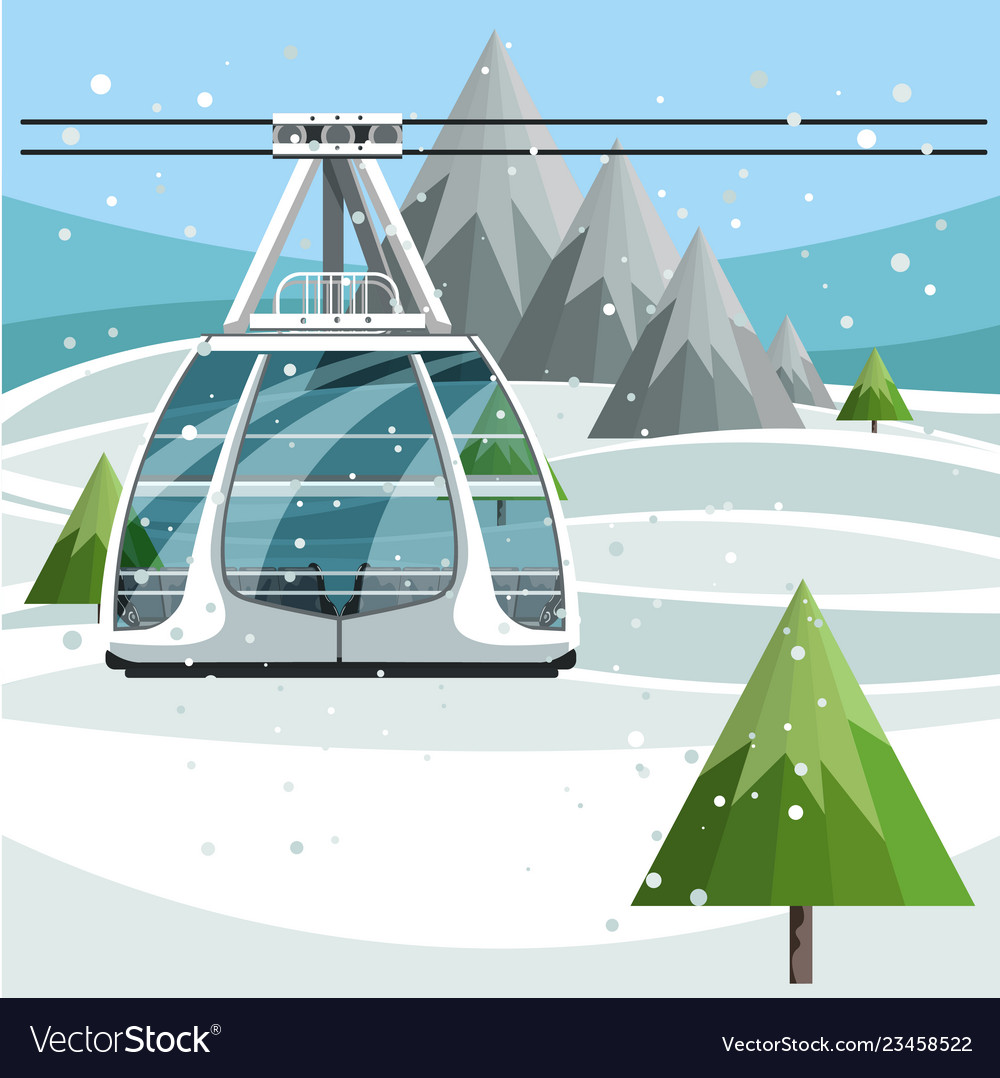 Cableway with empty ski lift cable on mountains