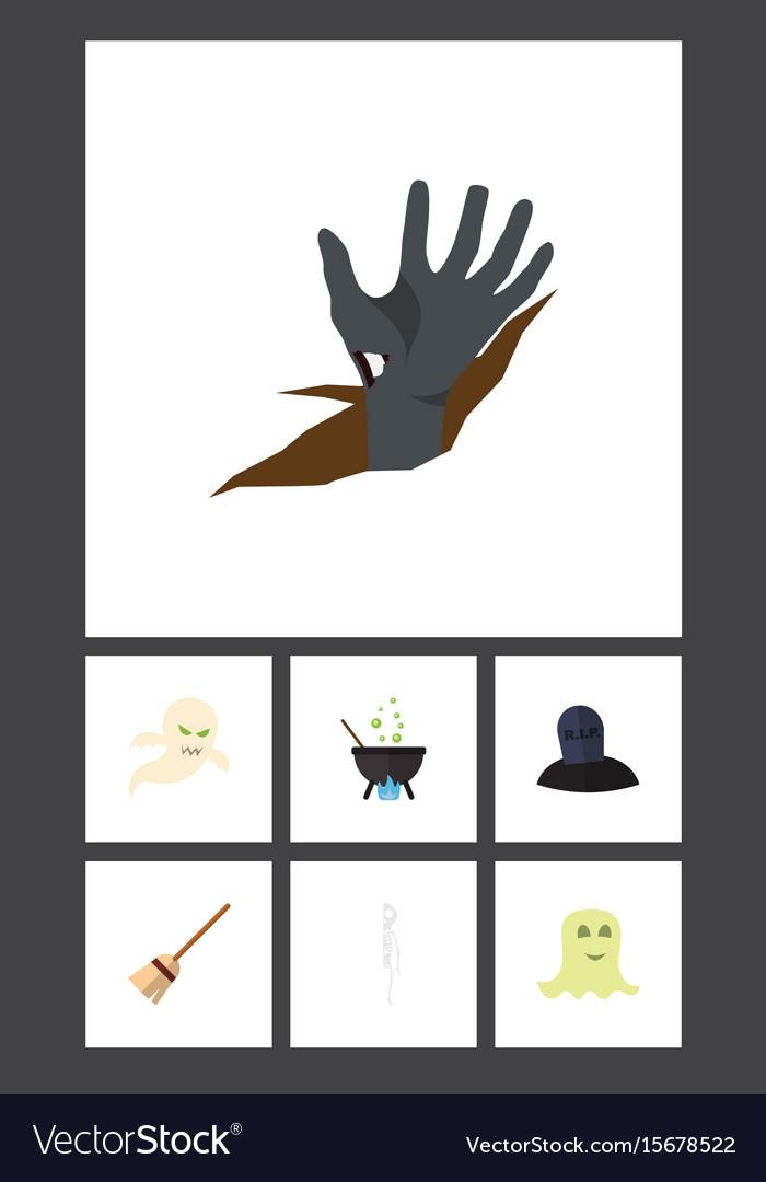 Flat icon halloween set of broom ghost zombie vector image