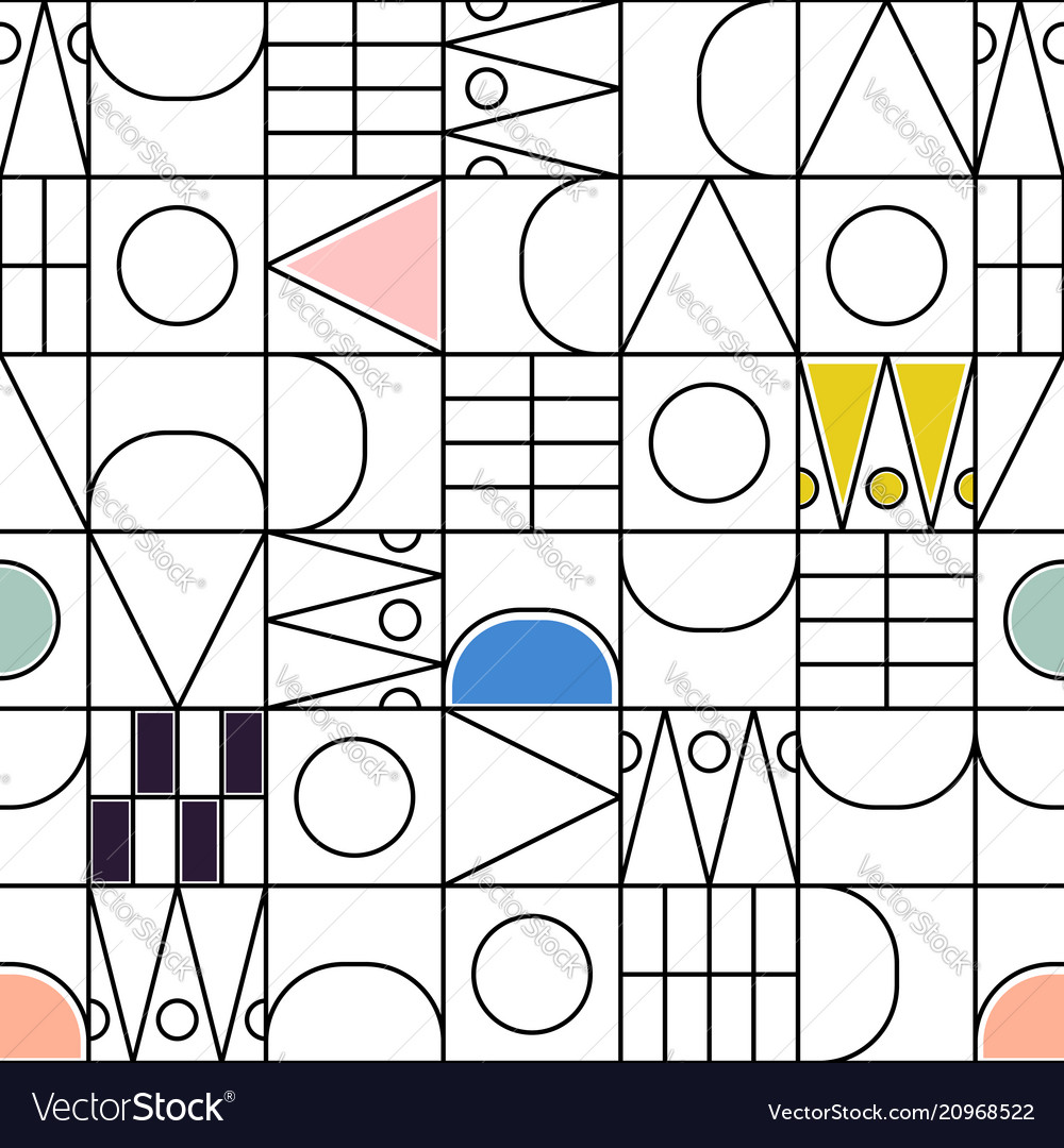 Geometric line shapes with color accents seamless vector image
