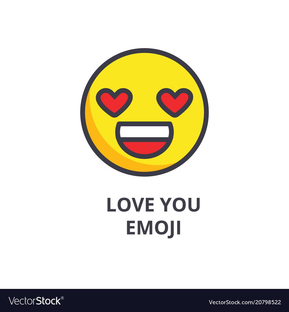 Love you emoji line icon sign