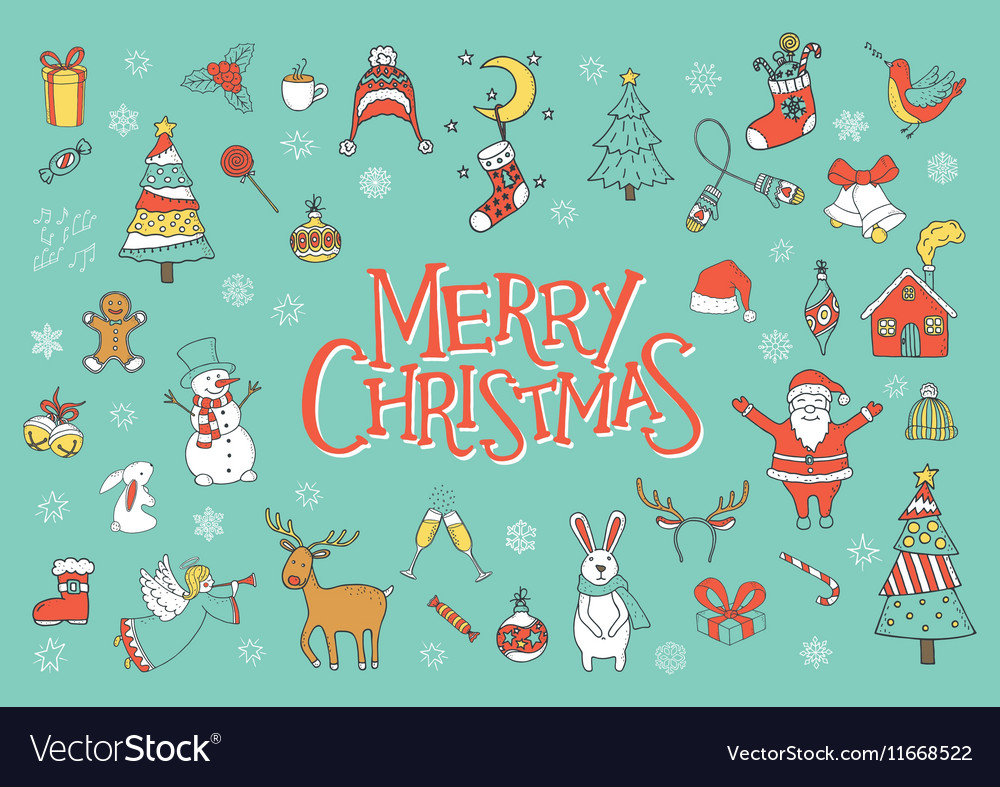 Merry Christmas Greeting Card Poster Royalty Free Vector