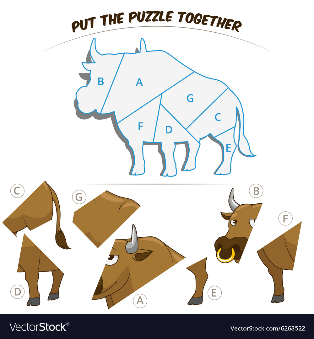 Puzzle game for chldren bull vector image