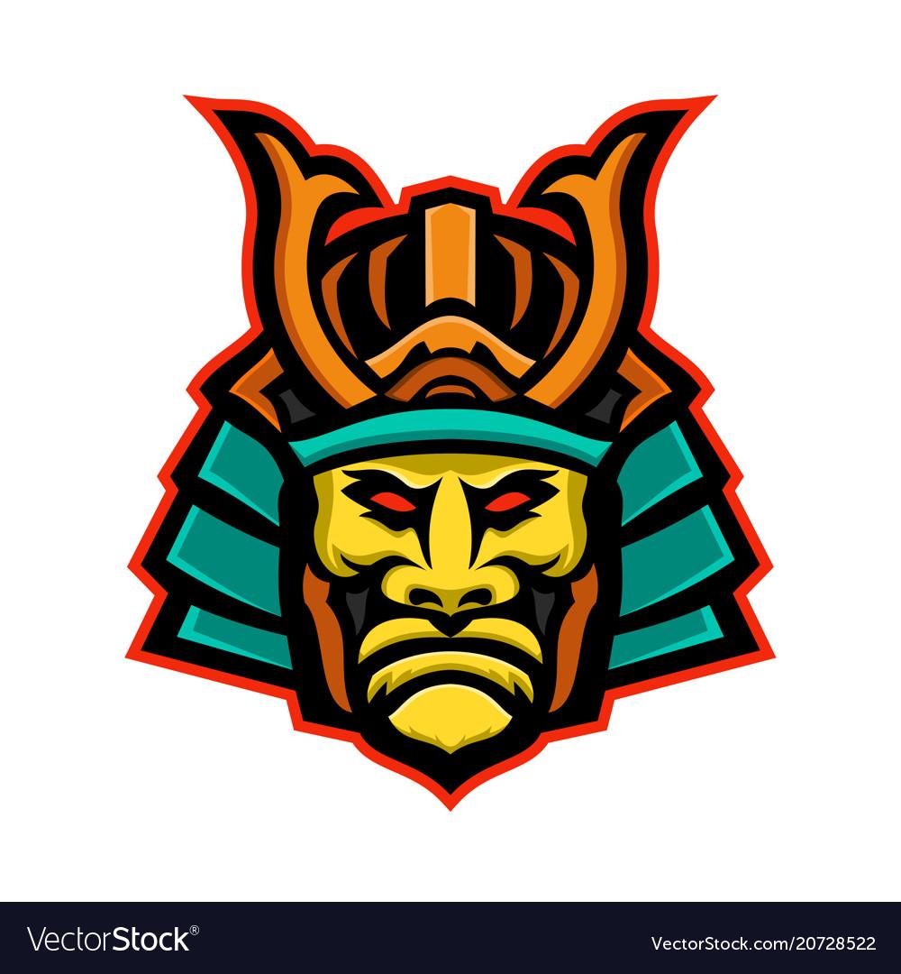 Samurai warrior head mascot