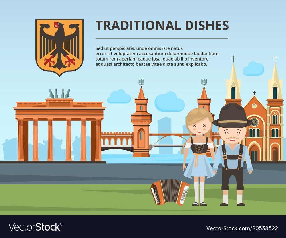 Urban landscape with germany landmarks and peoples