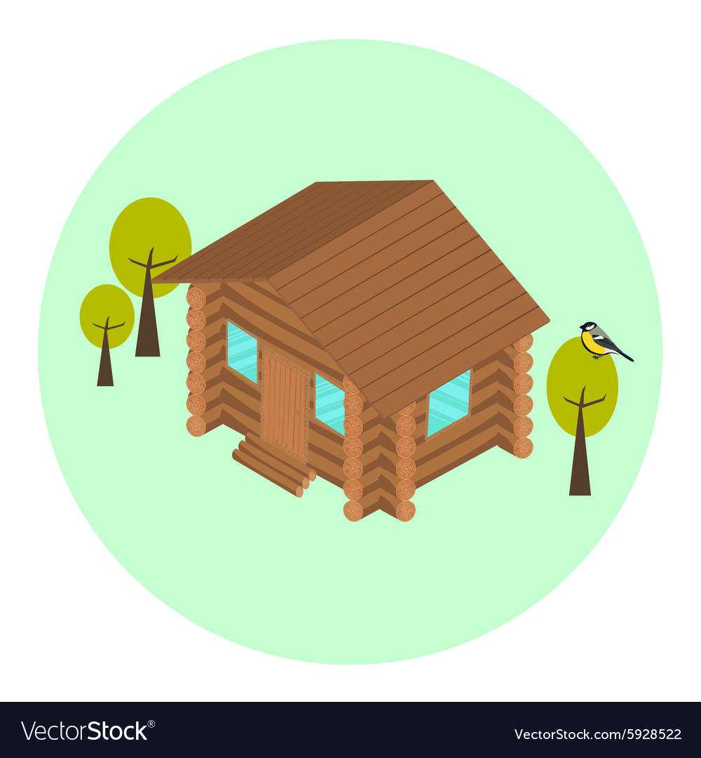 Wood log isometric house icon vector image