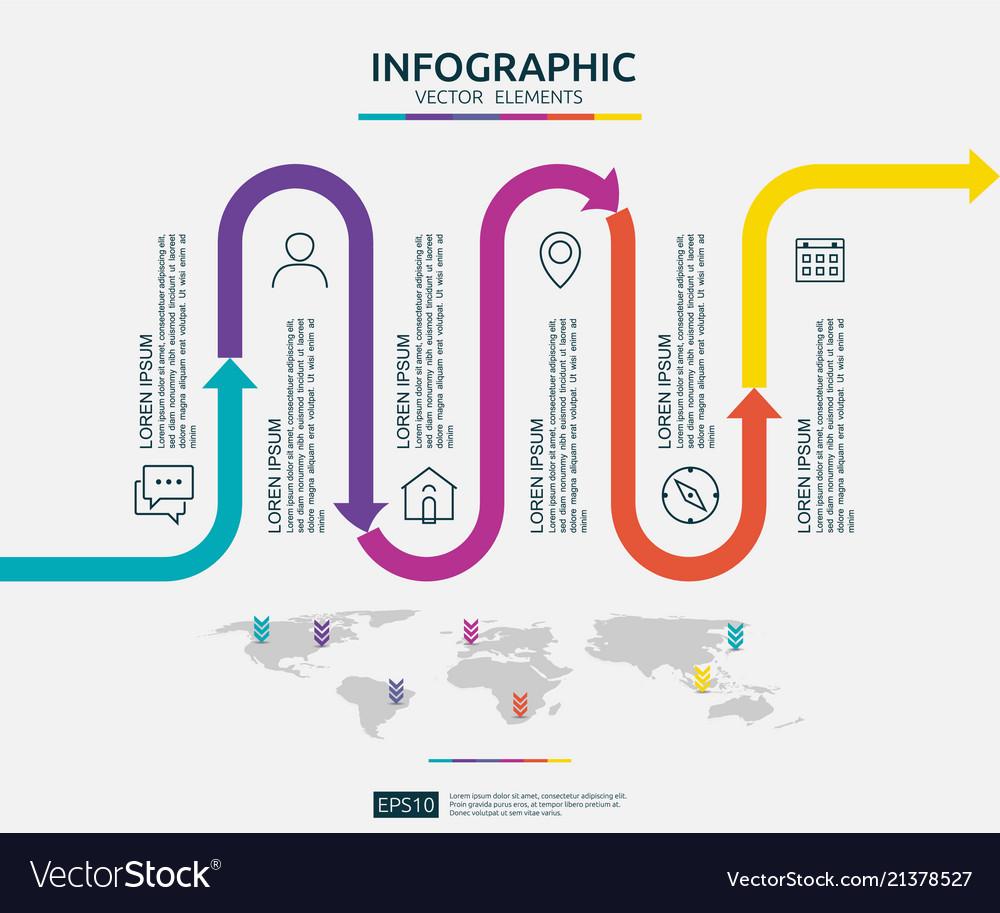 6 steps business infographic timeline design