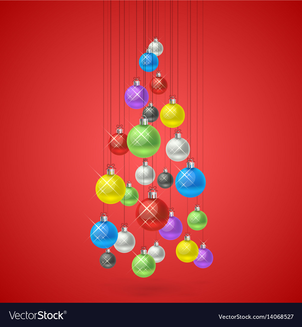 Christmas balls hanging in a tree