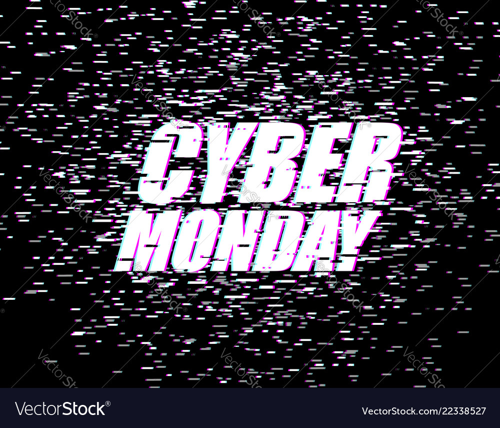 Cyber monday glitch effect emblem website display