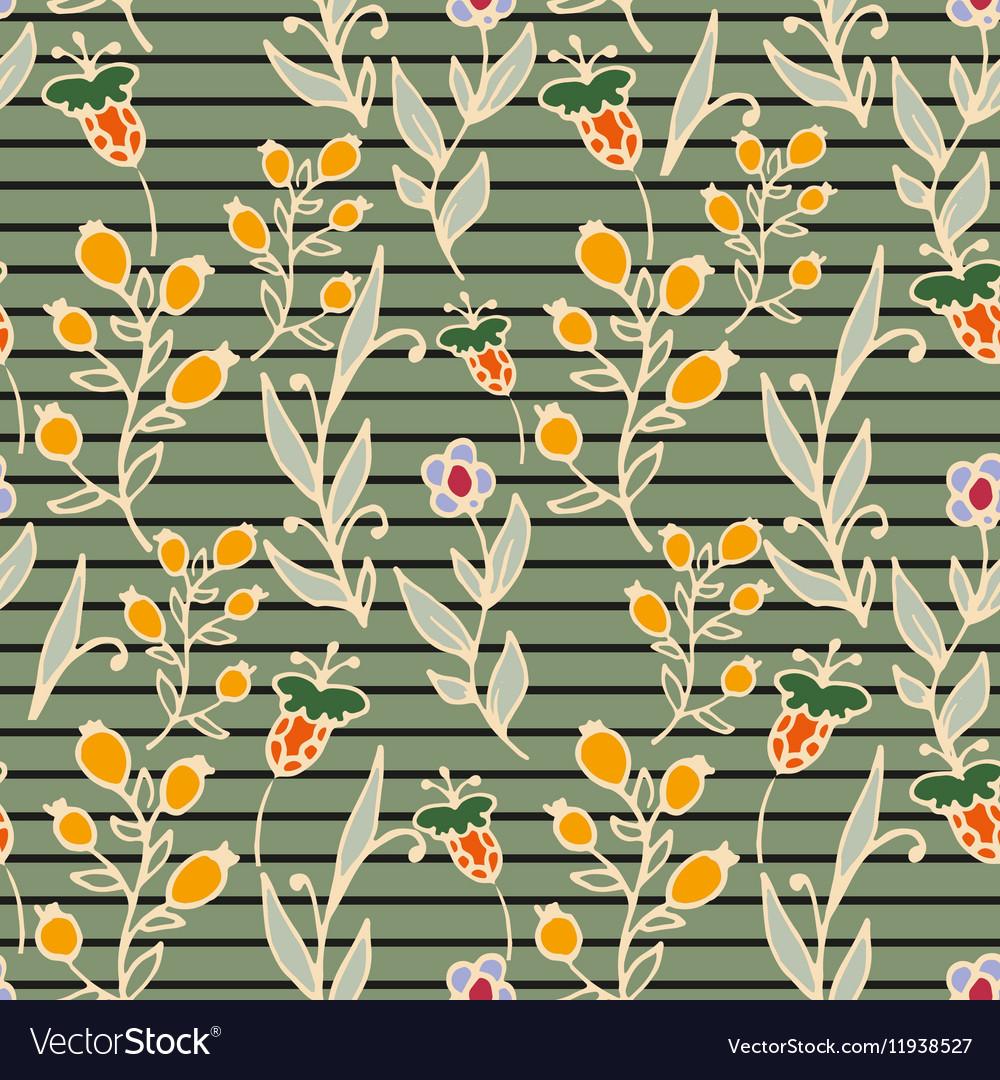 Floral seamless pattern Horizontal stripes Herbs