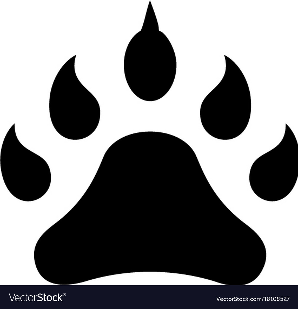 Footprint animal icon black vector image