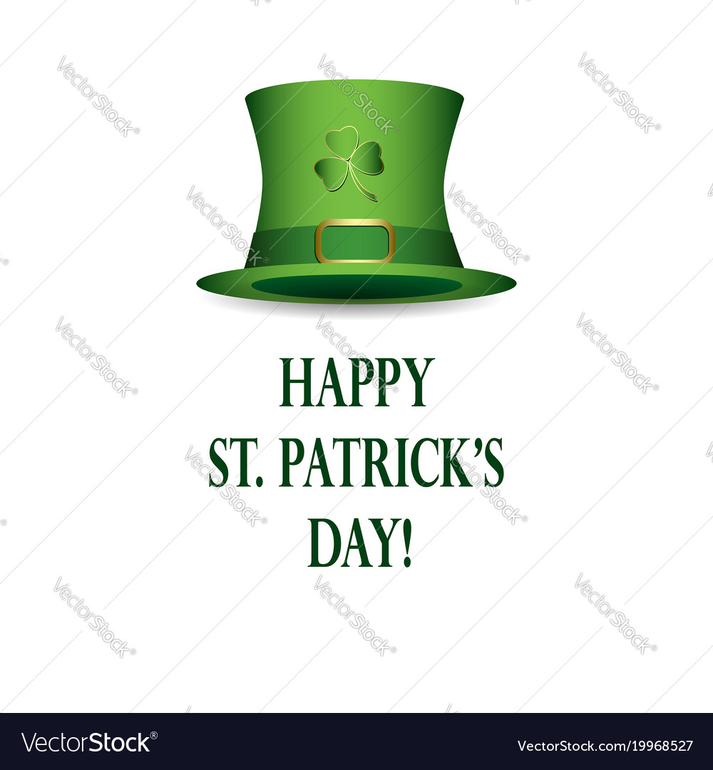 3841a860 Happy st patricks day - white background with hat Vector Image