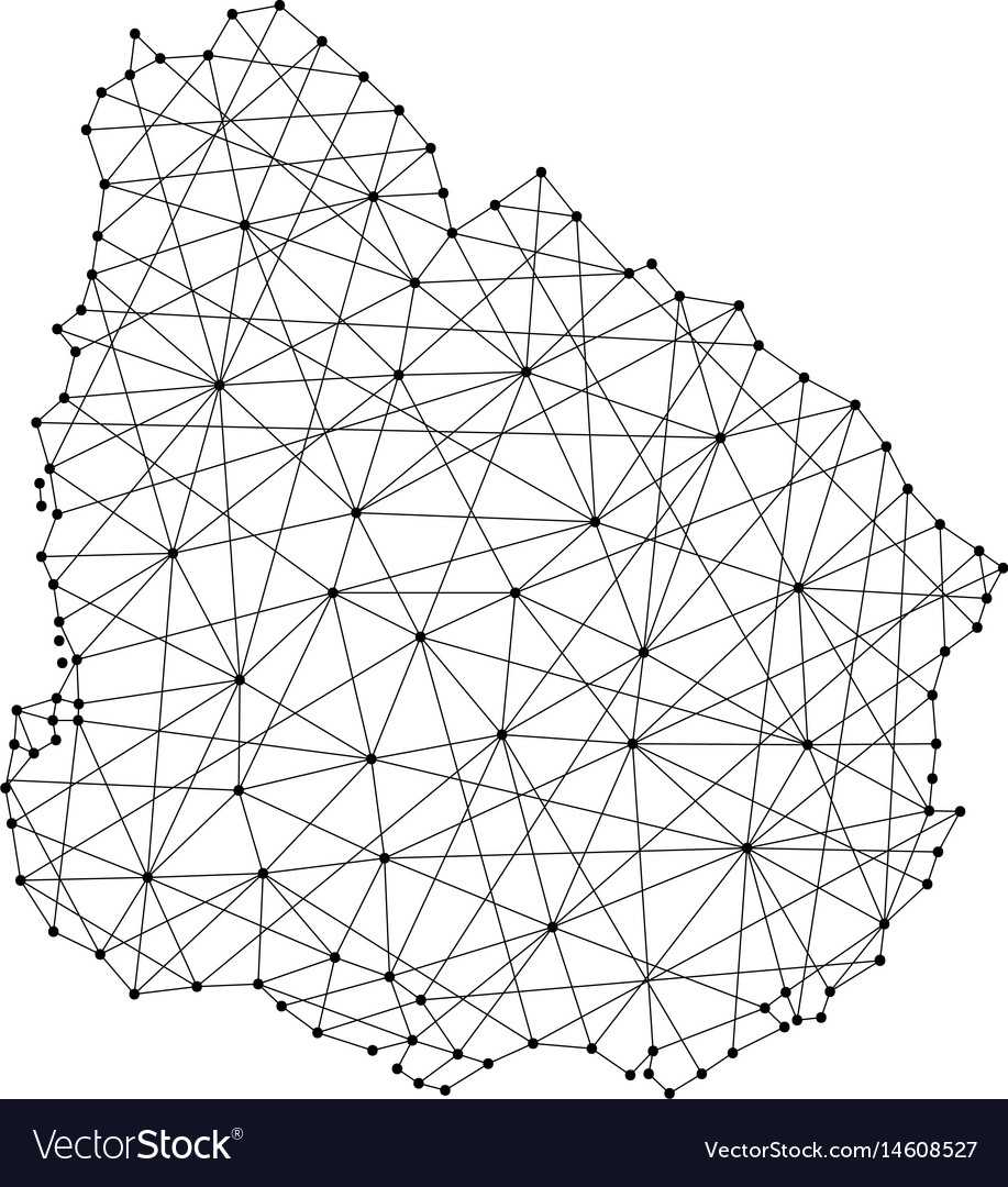 Map of uruguay from polygonal black lines and dots vector image