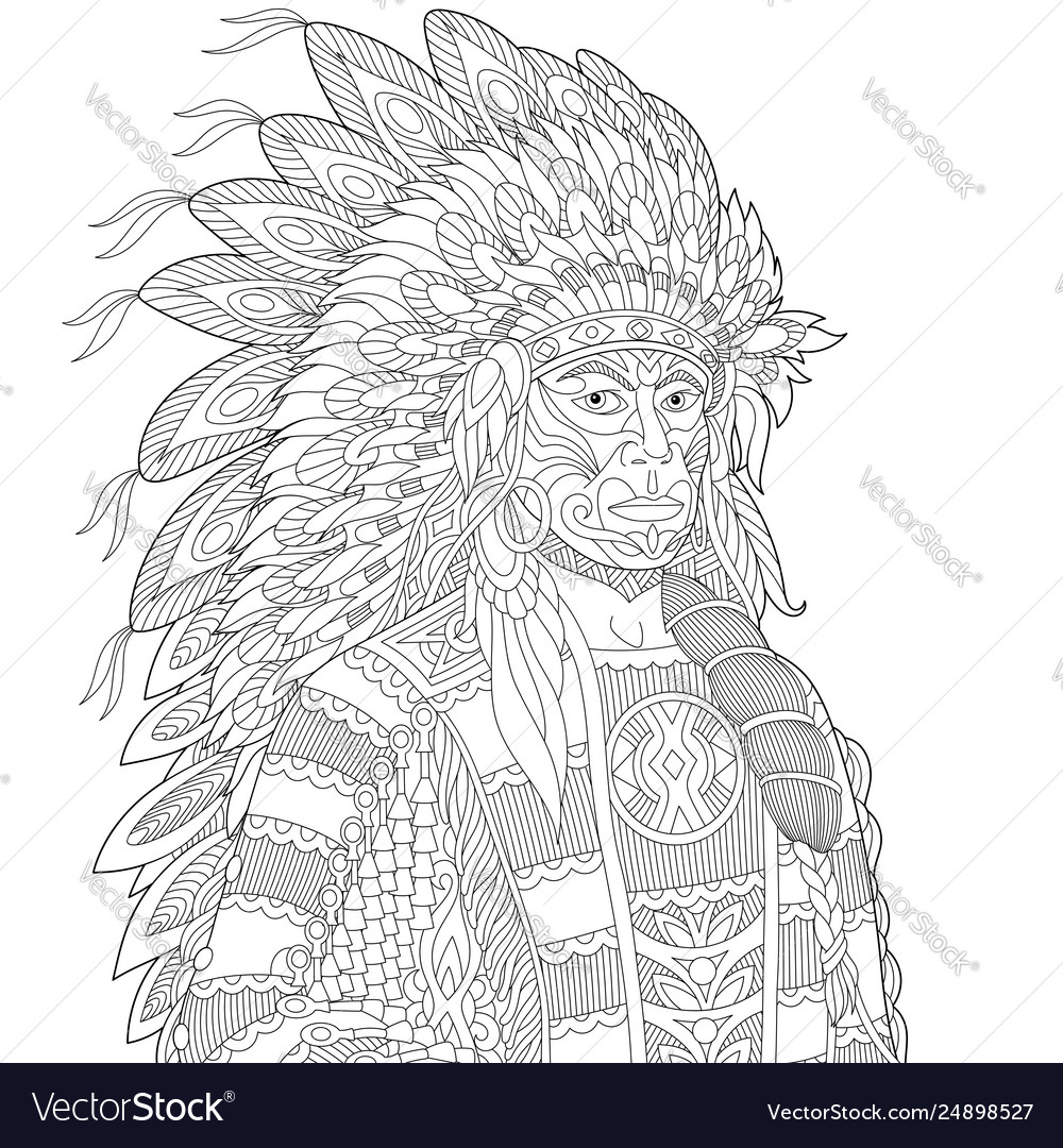 Native american indian chief adult coloring page