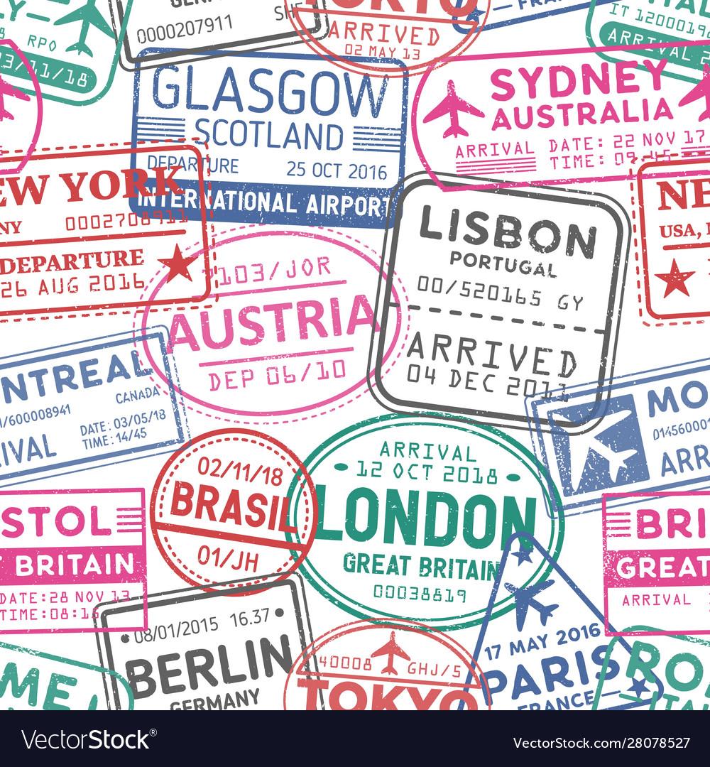 Visa stamps seamless pattern austria