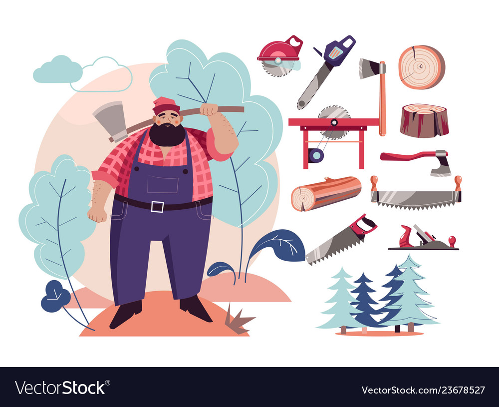Woodcutter or lumberjack cutting tools and wood