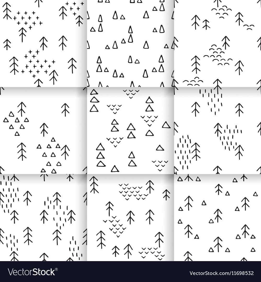 Hand-drawn pattern Scandinavian vector image