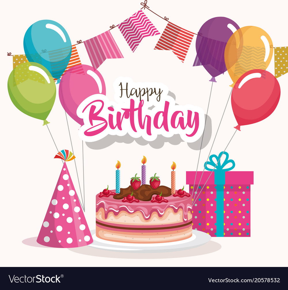 Astonishing Happy Birthday Cake With Balloons Air Celebration Vector Image Personalised Birthday Cards Veneteletsinfo