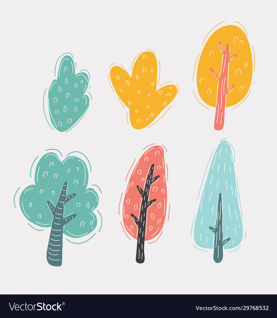 Isolated cartoon trees and bushes pack on white