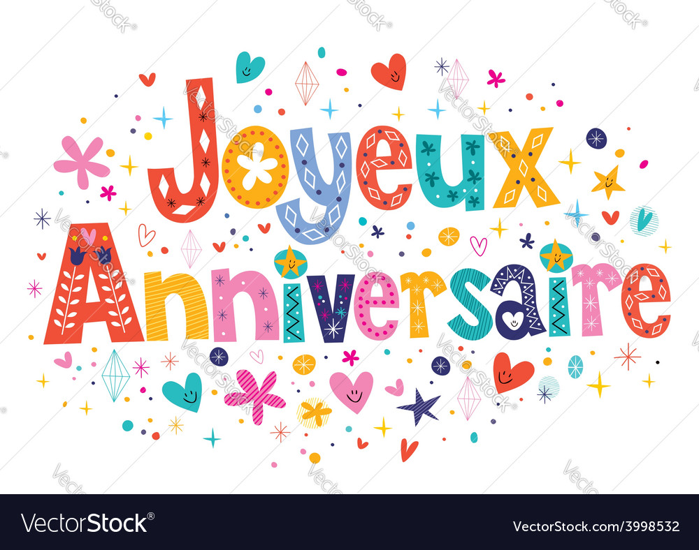 Joyeux anniversaire happy birthday in french vector image - Clipart anniversaire 50 ans ...