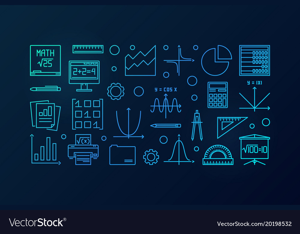 Math blue line banner or Royalty Free Vector Image