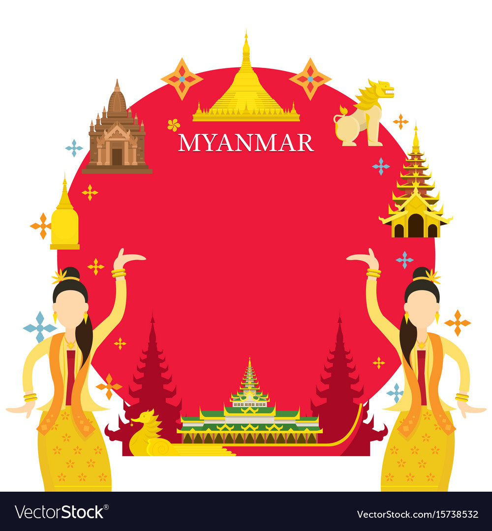 Myanmar landmarks traditional dance frame