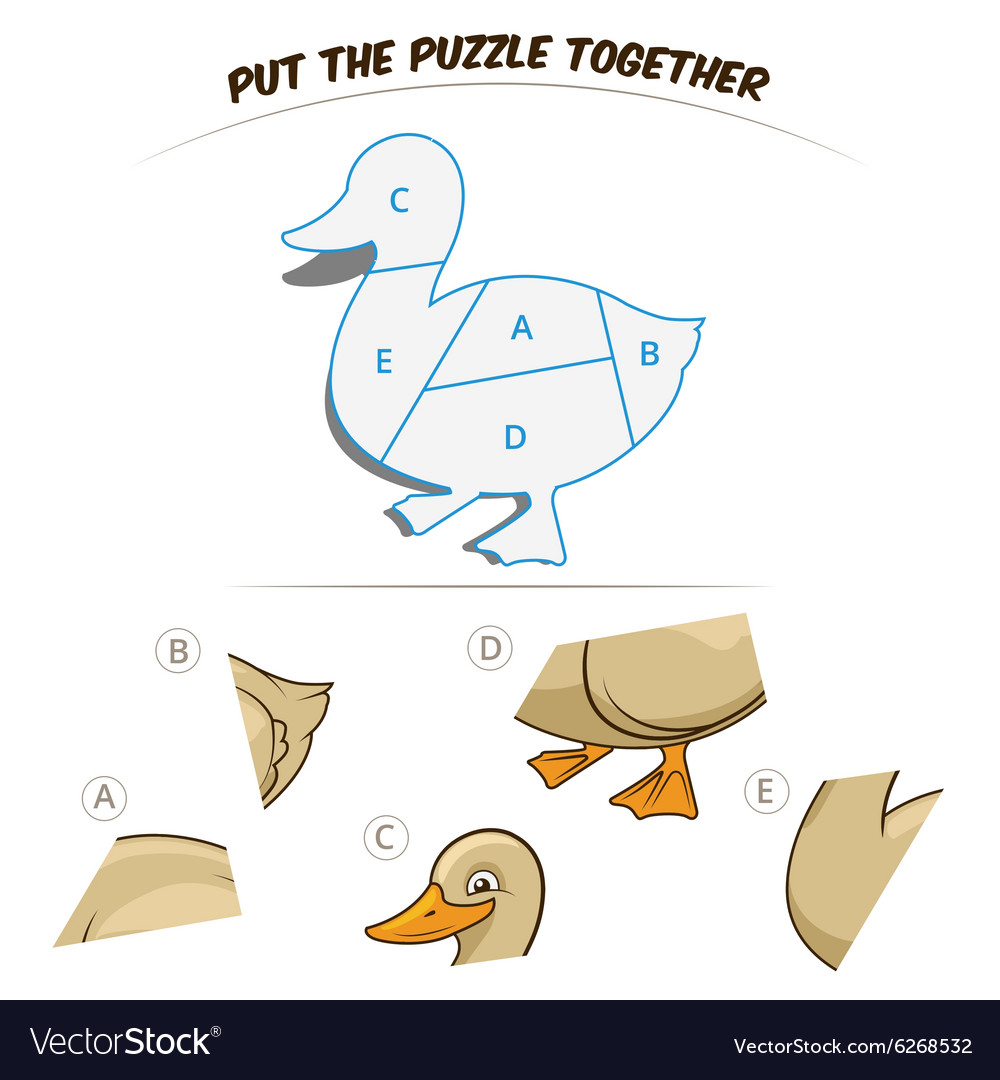 Puzzle game for chldren duck vector image