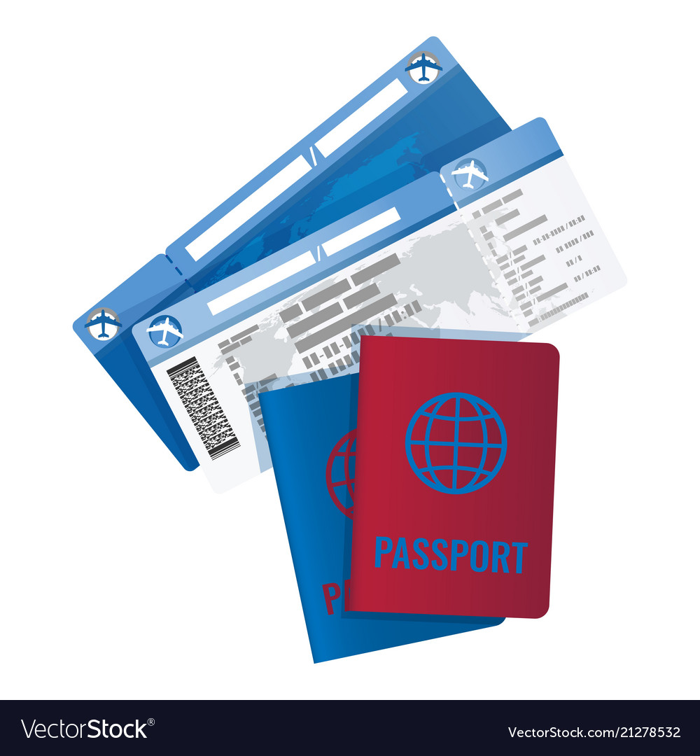 Tickets and passport for travelling abroad