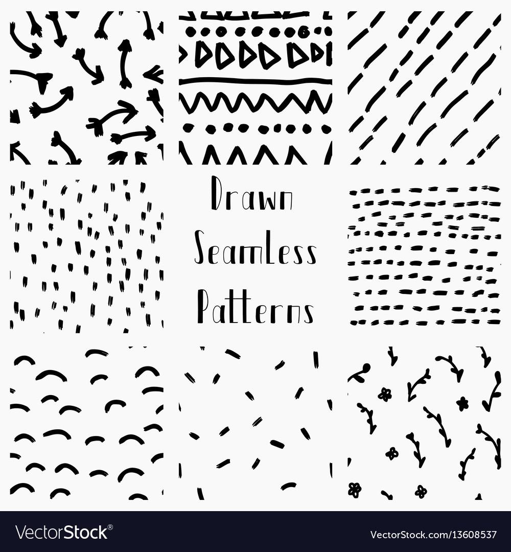 Abstract hand drawn black seamless patterns