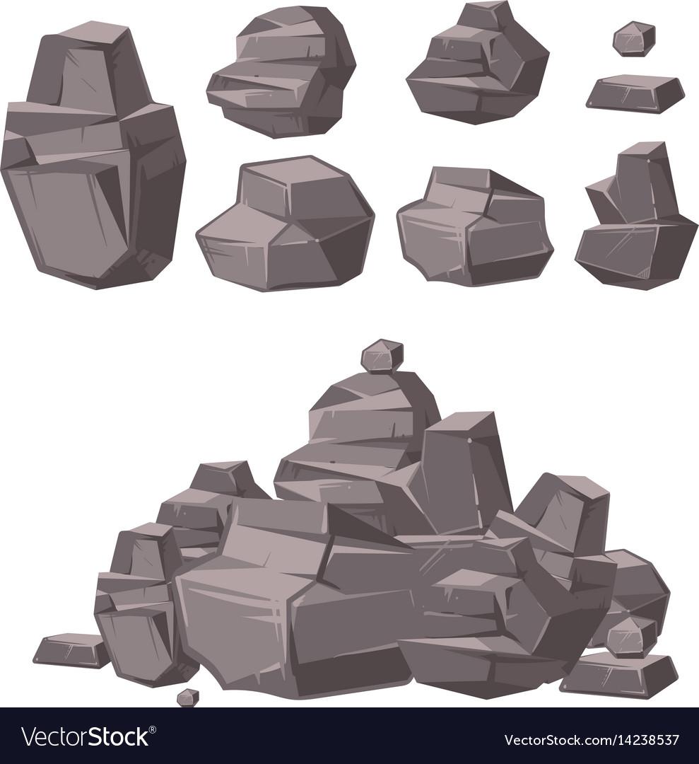 Cartoon 3d rock granite stones stack of boulders