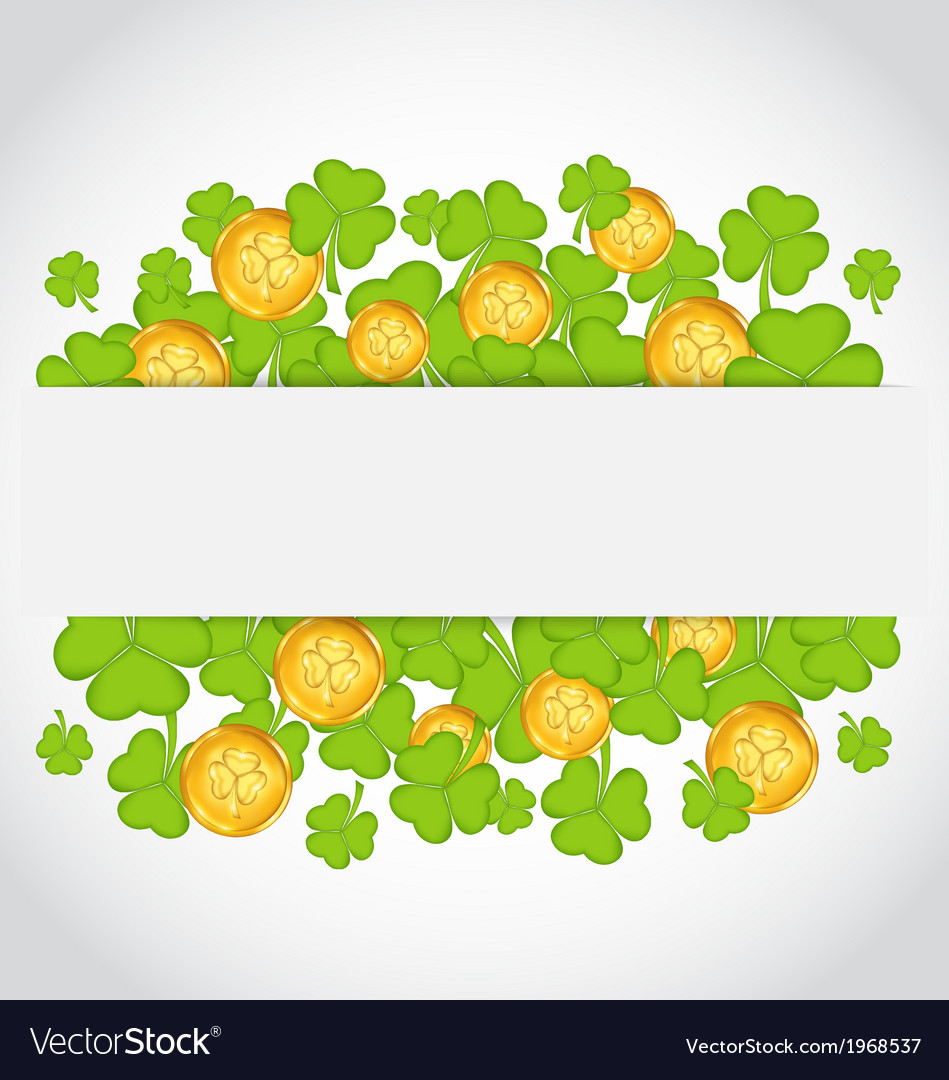Celebration card with clovers and golden coins for